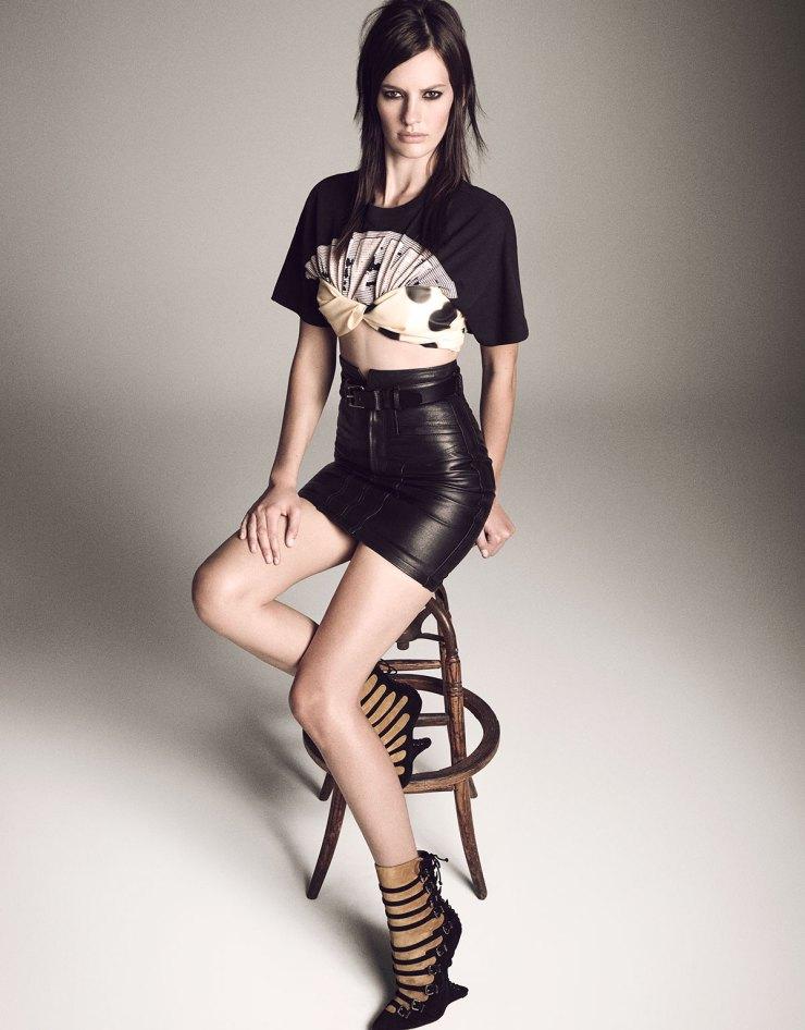 Amanda Murphy by Luigi Murenu & Iango Henzi for Vogue Japan April 2015 leather skirt