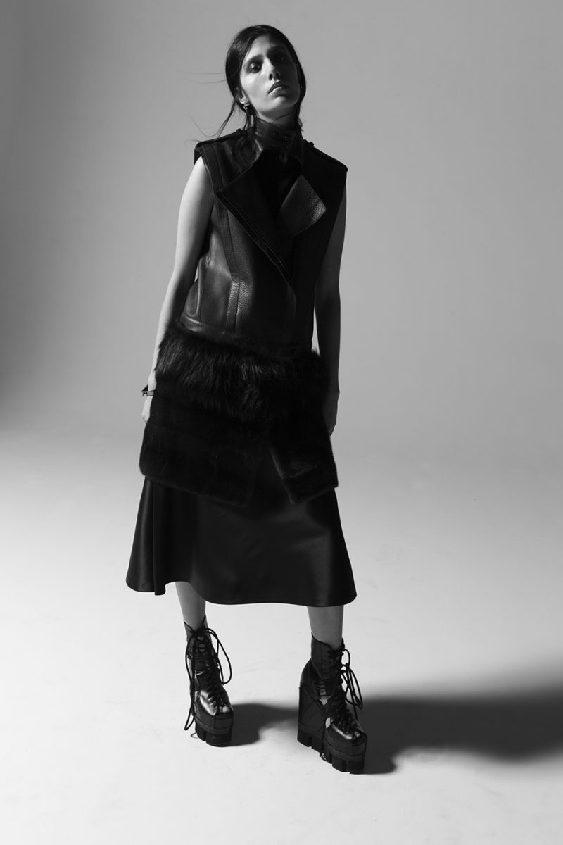 Jacket Sally Lapointe, Skirt Sally Lapointe, Shoes Chromat