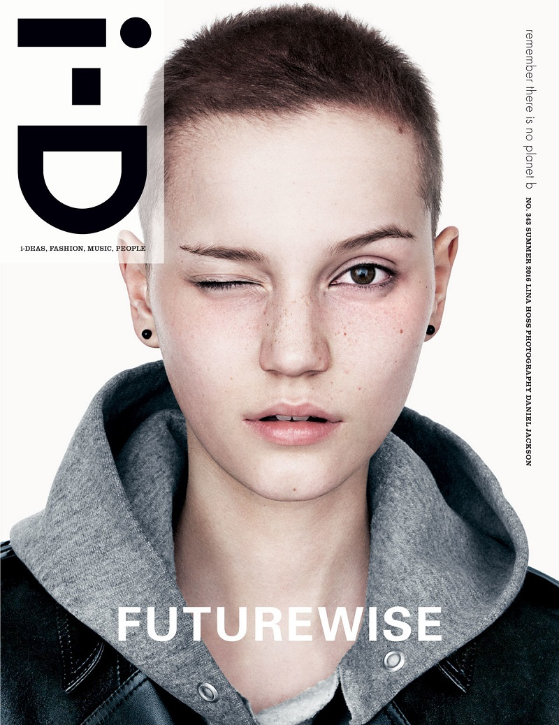 Lina Hoss By Daniel Jackson For i-D Magazine Summer 2016 Covers. Lina wears coat Anthony Vaccarello Fall-Winter 2016. Hoodie vintage Champion.