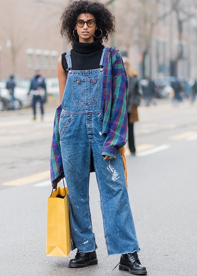 Street Style Denim Overall Milan FW Fall 2017