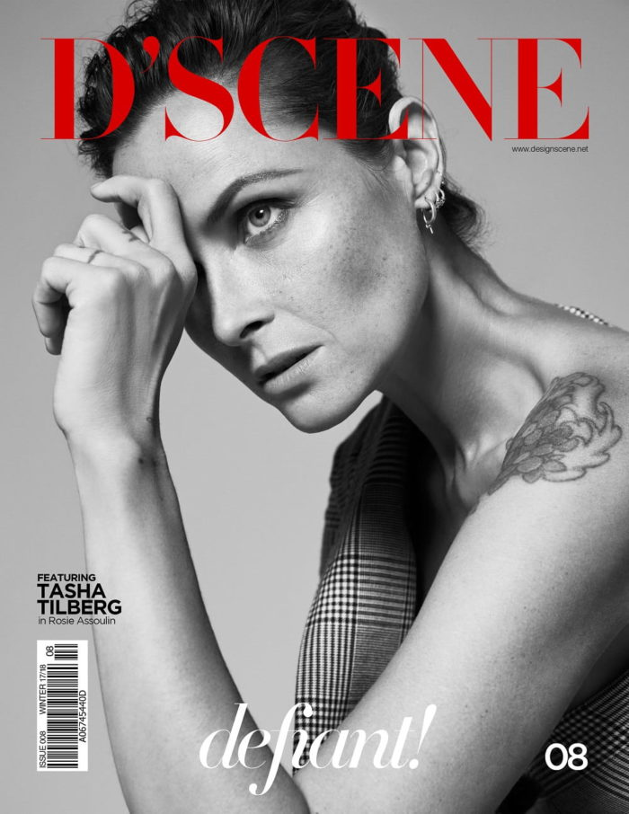 Tasha Tilberg Covers D'SCENE Magazine Winter 2018, wearing jacket from Rosie Assoulin Fall-Winter 2017 Collection