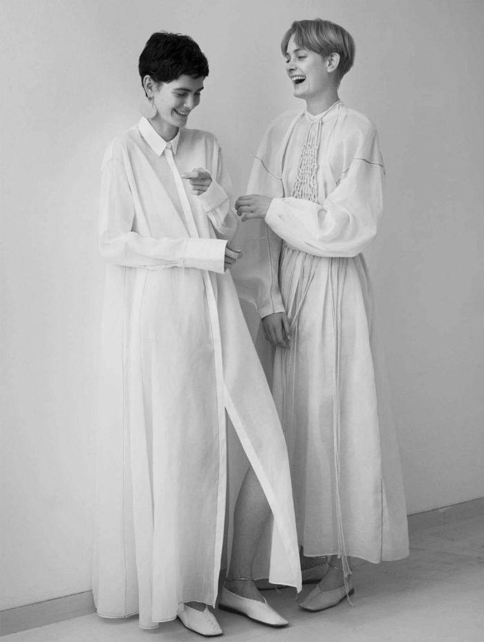 Amandine Renard, Sunniva Vaatevik Wahl by Stefan Heinrichs for Vogue Germany January 2018 - Jil Sander Special